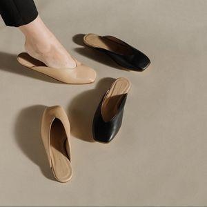 Helmut Lang V Cut Nappa Leather Slides